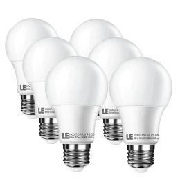 10W Dimmable A19 E26 LED Light Bulbs, Daylight White, 60W Incandescent Bulbs Equiv, 240' Beam Angle, Pack of 6 Units