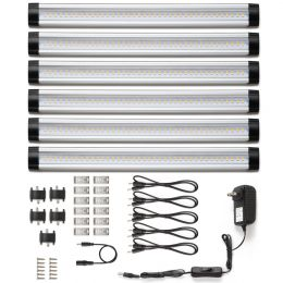 12-Inch Under Cabinet Lighting, 6 Panel Deluxe Kit, Total of 24 Watt, 1800lm, Warm White, 48W Fluorescent Tube Equiv, All Accessories Included