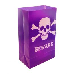 Plastic Luminaria Bag - Skull & Crossbones 12ct