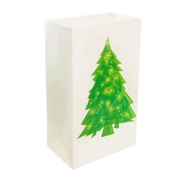 Plastic Luminaria Bag - Holiday Tree 12ct