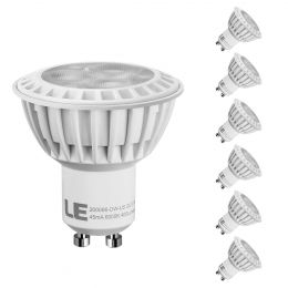 Pack of 6 Units, 5W GU10 LED Light Bulbs Dimmable, Warm White, 3000K, 50W Halogen Bulbs Equivalent, 400lm, 38' Spot Beam Angle