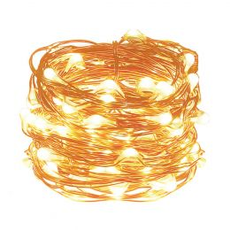Pack of 3 Units, 19.68ft 60 LEDs Copper Wire String Lights, Warm White, LED Battery Compartment Copper Lamps, Party Christmas Decoration