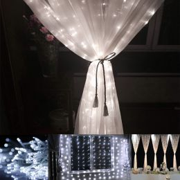 9.84*19.68ft 600 LED Window Lights, Curtain Icicle Lights, 8 Modes, Daylight White 6000K, String Light for Christmas/Halloween/Wedding/Party Backdrops