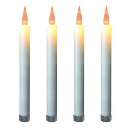 Flickering Taper Candles - Amber 4ct