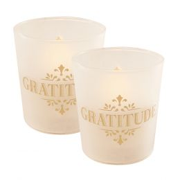 Flickering LED Candles - Gold Gratitude 2ct