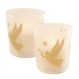 Flickering LED Candles - Gold Angels 2ct