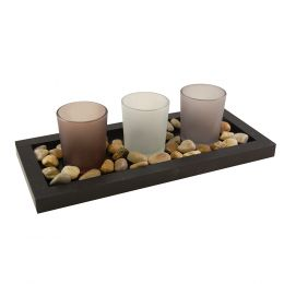 Wooden/Glass - Pebble Candle Tray 1ct