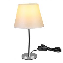 Simple Fabric Shade E26 Bulb Base Bedside Table Lamp with Solid Round Plating Metallic Stand Base for Bedroom Living Room Decoration