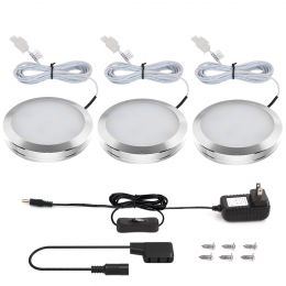 LED Under Cabinet Lighting Kit, 3 Deluxe Kit, Total of 6 Watt, 510lm, All Accessories Included, Daylight White Kitchen Cabinet Lights, Puck Lights