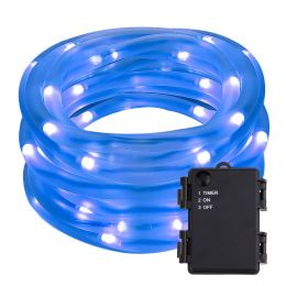 16.5ft 50 LEDs Blue Rope String Lights, Portable Battery Powered, Waterproof Rope Light Ideal for Christmas, Thanksgiving, Wedding Decorations